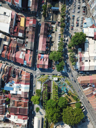 Georgetown, Penang/Malaysia - Feb 29 2020: Drone view look down green park Sia Boey Urban Archaeological Park in heritage Georgetown.