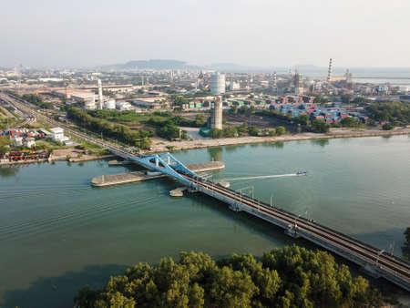 Perai, PenangMalaysia - Mar 02 2020: Swing Bridge at Perai River.