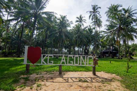 Penaga, PenangMalaysia - Oct 27 2019: Signboard I love Kampung Agong at entrance.