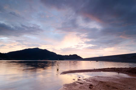Amazing sunset at Mengkuang Dam. Archivio Fotografico