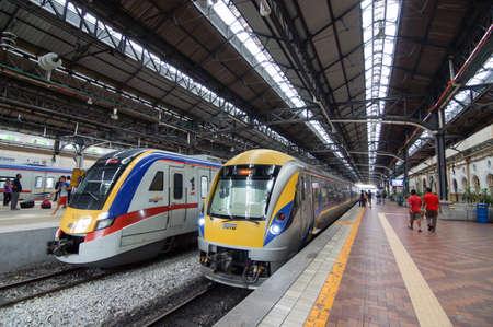 City, Kuala Lumpur/Malaysia - May 24 2014: KTM Train arrive KL station.