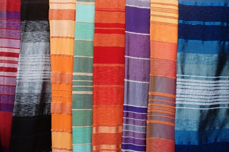 Colorful oriental covers on market in Morocco Stock Photo - 19072784