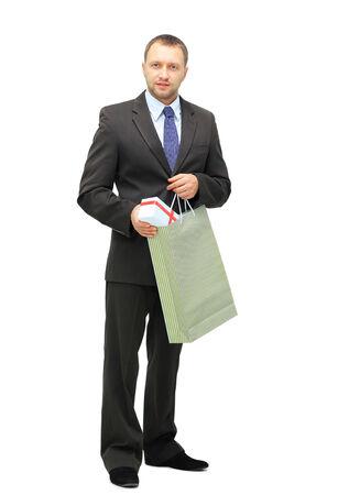 midlife: shopping men isolated on white background  Stock Photo