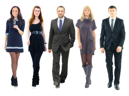 businessteamwork: a group of businessmen and businesswomen isolated over a white background
