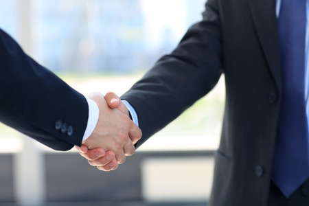 person: Closeup of a business hand shake between two colleagues Stock Photo