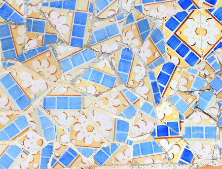 Close-up of the ceramics in Park Guell Barcelona created by Gaudi  photo