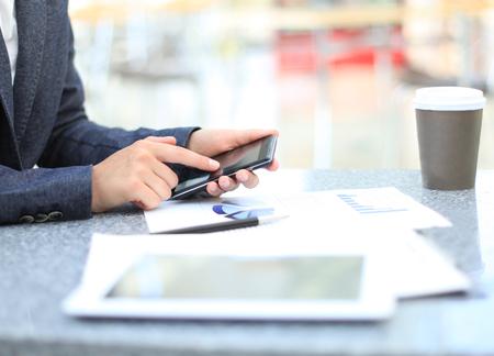 Businessman using digital tablet computer with modern mobile phone  Stock fotó