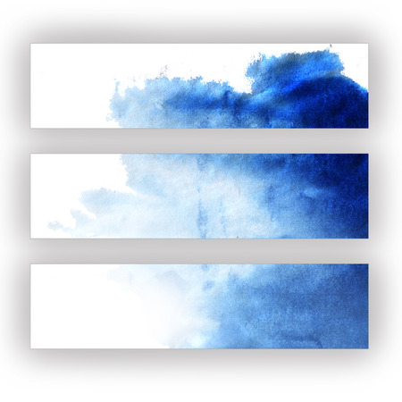 Abstract blue watercolor hand painted background Imagens