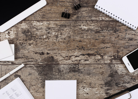 Blank office desk background with copy space for your text.  photo