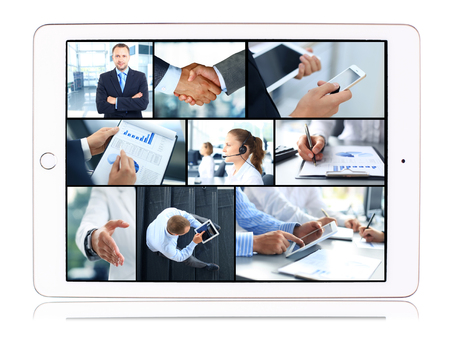 business consulting: Collage of business teams, technology and partnership concepts in tablet computer