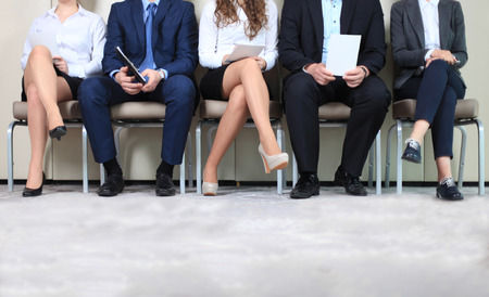 Stressful people waiting for job interview