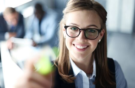 smiling businessman: Giving presentation executive businesswoman pointing