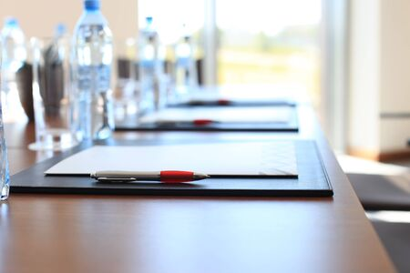 Closeup of an empty conference room before meeting