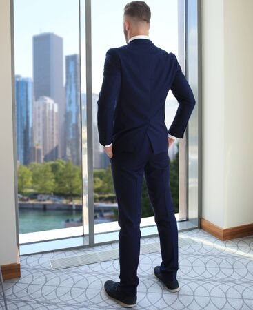 standing businessman: Back view of successful manager looking the city from his office Stock Photo