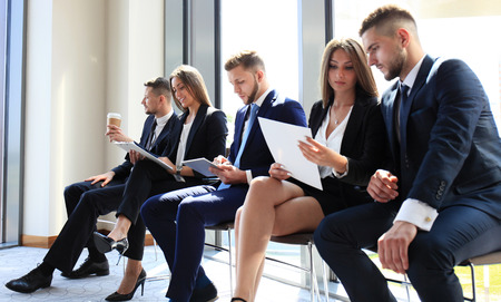executive women: Stressful people waiting for job interview