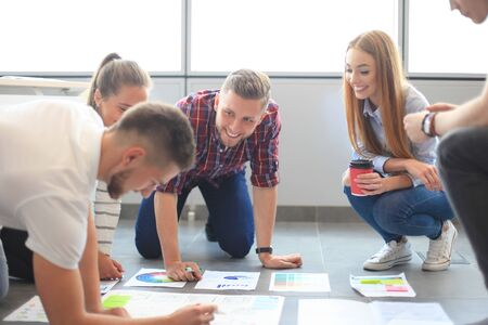 young group: Group of young business people and designers.They working on new project.Startup concept. Stock Photo