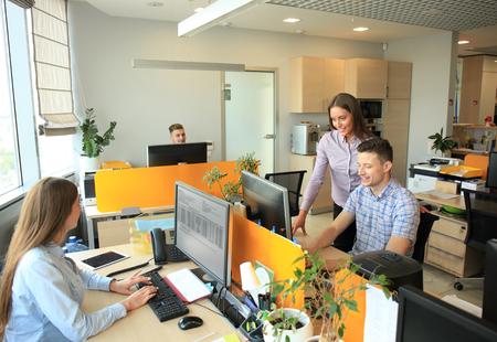 Zakelijke team discussie klant het dienstverleningsconcept. Stockfoto