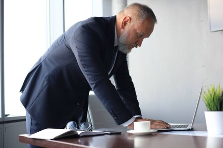 Elegant mature businessman analyzing data while working in office.