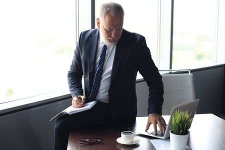 Focused mature businessman working and taking notes in his modern office. Zdjęcie Seryjne