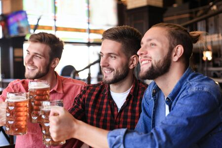 Cheerful old friends having fun and drinking draft beer at bar counter in pub