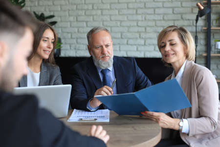 Job interview with the employer, business team listen to candidate answers
