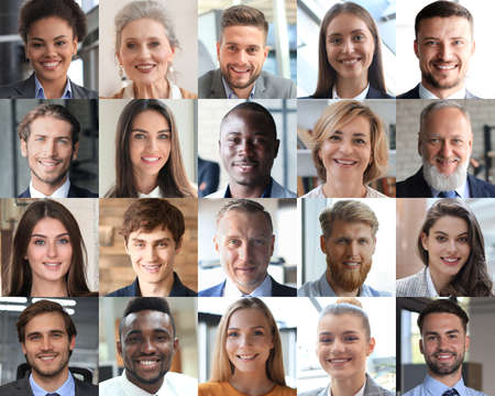 Happy group of multiethnic business people men and women. Different young and old people group headshots in collage. Multicultural faces looking at camera Foto de archivo