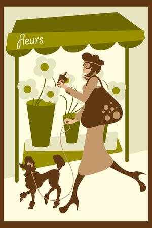 compatible: vector illustration d'une dame qui prom�ne son chien. eps est compatible avec les anciennes versions d'Illustrator.