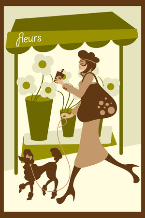 compatible: vector illustration of a lady walking her dog. file is compatible with older versions of illustrator. Illustration