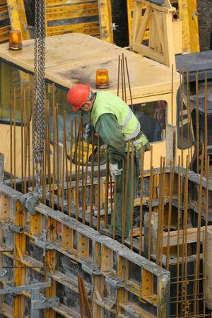 erect: Construction worker Stock Photo