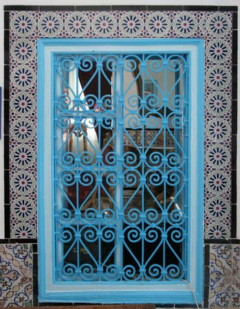 Beautiful window with ornament, Tunisia photo