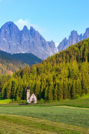 Santa Maddalena church in Val di Funes valley, Dolomiti Mountains, Italy