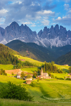 Santa Maddalena village in front of the Odle Dolomites Group, Italy, Europe