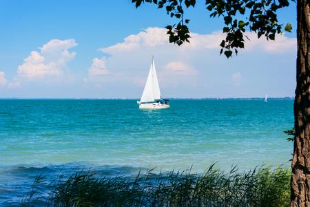 Sailing at Balaton lake at summer in Hungary