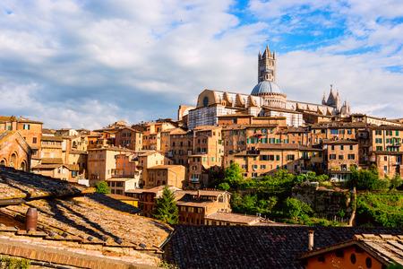 Aerial view with Duomo di Siena - Siena Catherdal, Tuscany, Italy