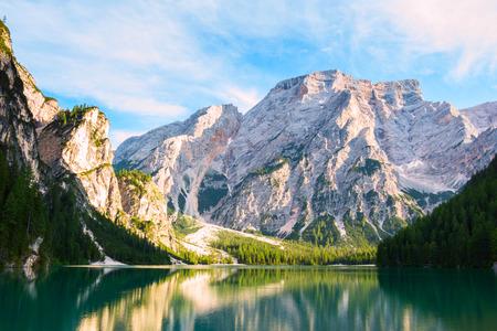 Braies Lake ( Lago di Braies, Pragser Wildsee) in Dolomiti mountains and Seekofel in background,Sudtirol,Italy