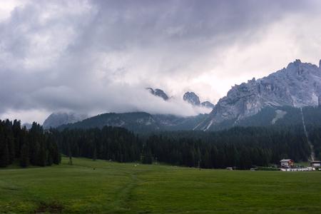 The Dolomite mountains  in summer in the national park Tre Cime di Lavaredo, Trentino Alto Adige, Italy Stock Photo
