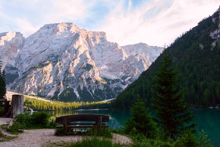 Hut on Braies Lake ( Lago di Braies, Pragser Wildsee) in Dolomiti mountains and Seekofel in background,Sudtirol,Italy