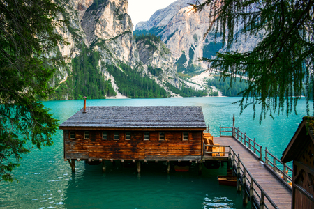 The Boathouse at Lake Braies in Dolomites mountains, Italy Stock Photo