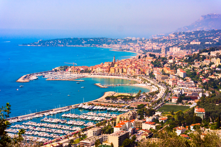 menton: Panoramic view the colorful old town Menton on french Riviera, France