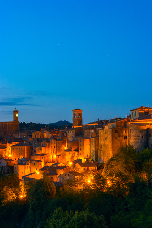 Evening view of the medieval town Sorano, Tuscany, Italy Editorial