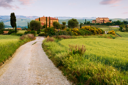 Typical tuscan farmhouse and green landscape in Italy, Europe Stock Photo
