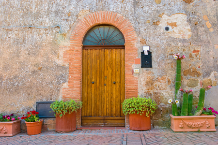 Doors detail from the medieval town Sovana, Tuscany,Italy Stock Photo