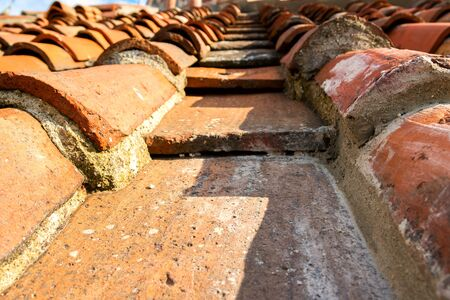 Close-up of old roof tiles background