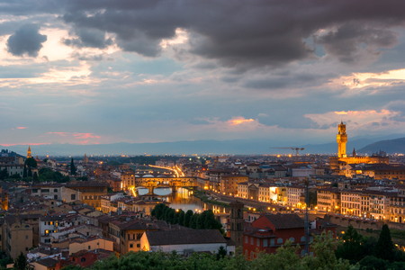 Evening panoramic view of Florence on a sunset, Italy Stock Photo