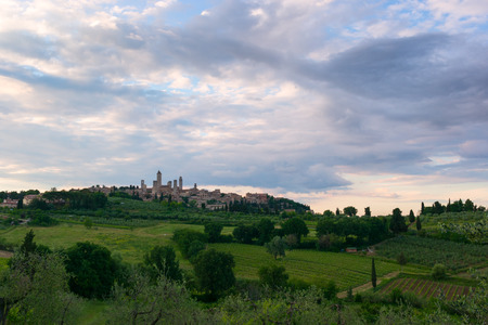 Panorama of beautiful landscape with the medieval city of San Gimignano in Tuscany, province of Siena, Italy