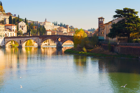 City of Verona with Adige river at sunny day. Italy
