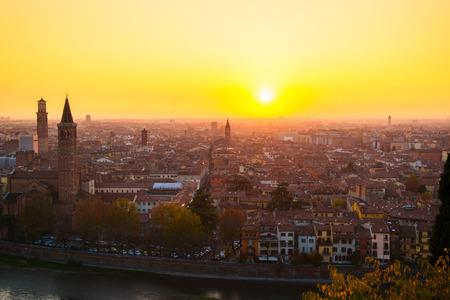 Beautiful romantic Verona panoramic aerial view -Italy