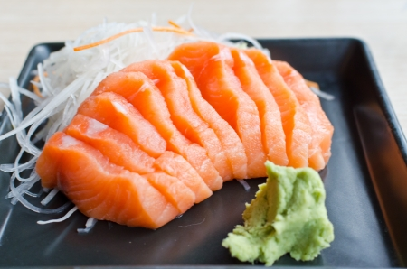 Sashimi salmon on plate photo