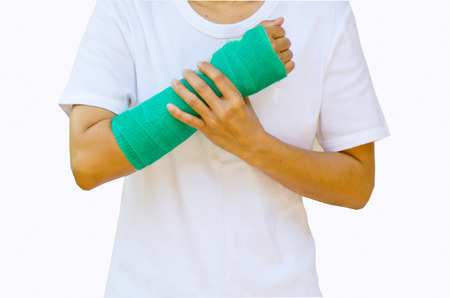 green cast on hand and arm