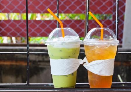 Ice Green tea and lemon tea.